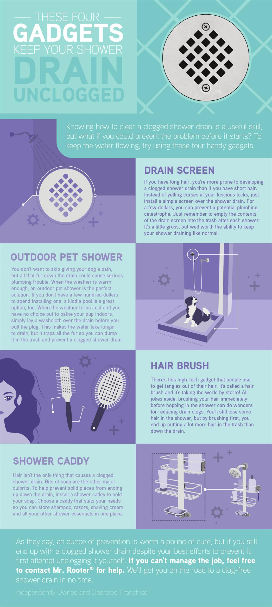 Four gadgets to keep your shower drain unclogged infographic.