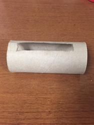 toilet paper roll with cutout