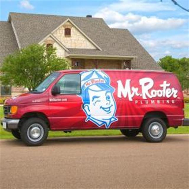 Look for the bright red van!
