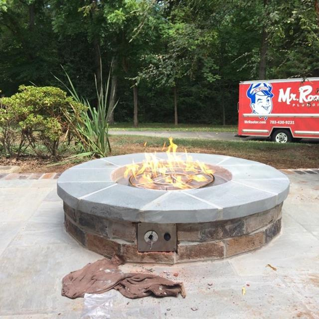 Mr Rooter Plumbing of Northern Virginia is certified to install and repair gas lines. This is a fire pit we piped for a customer. We can provide gas piping for gas  fireplaces, ranges, dryers, furnaces, etc.
