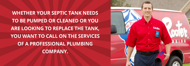 Mr. Rooter plumber with text about septic tanks