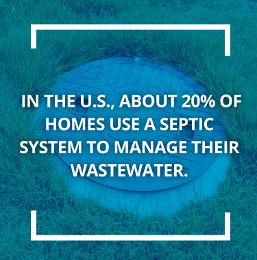 Septic cap in grass with text about septic systems