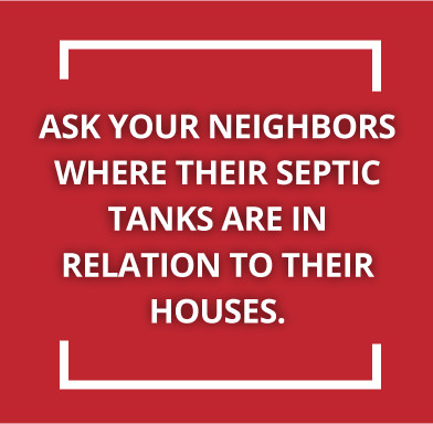 Red banner with text about finding septic tanks
