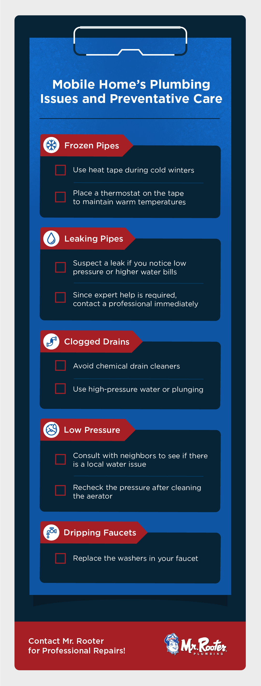 mobile home plumbing checklist