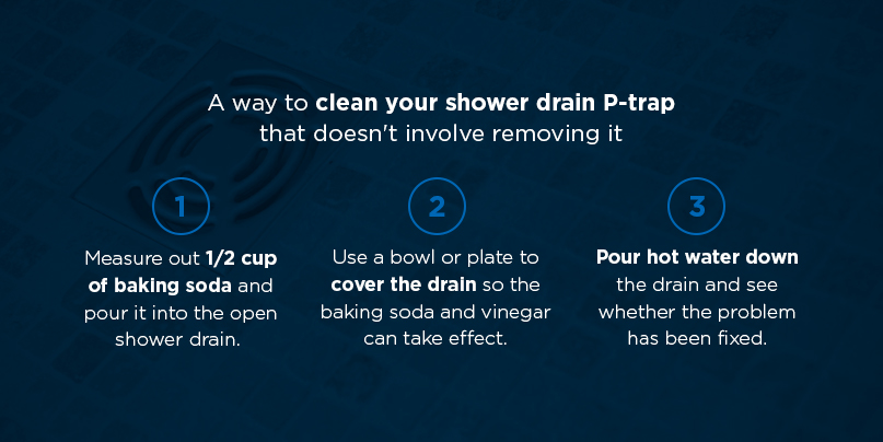 Drain with text about how to clean a shower drain p-trap