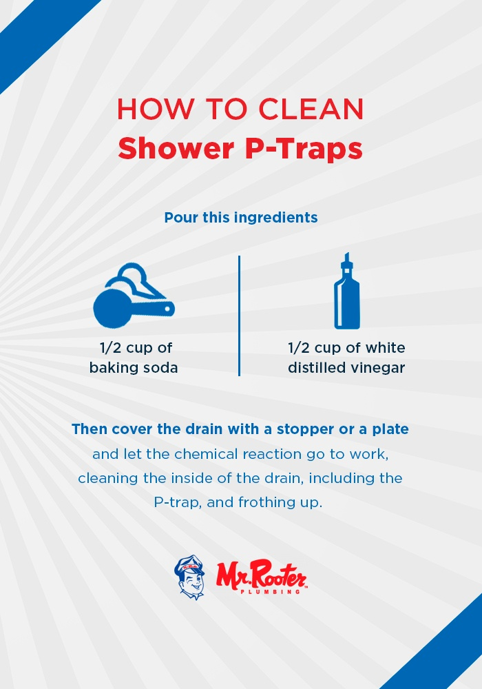 How to clean shower p-traps infographic