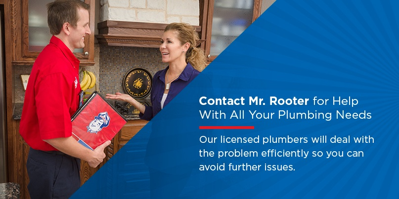 Mr. Rooter plumber speaking with a homeowner
