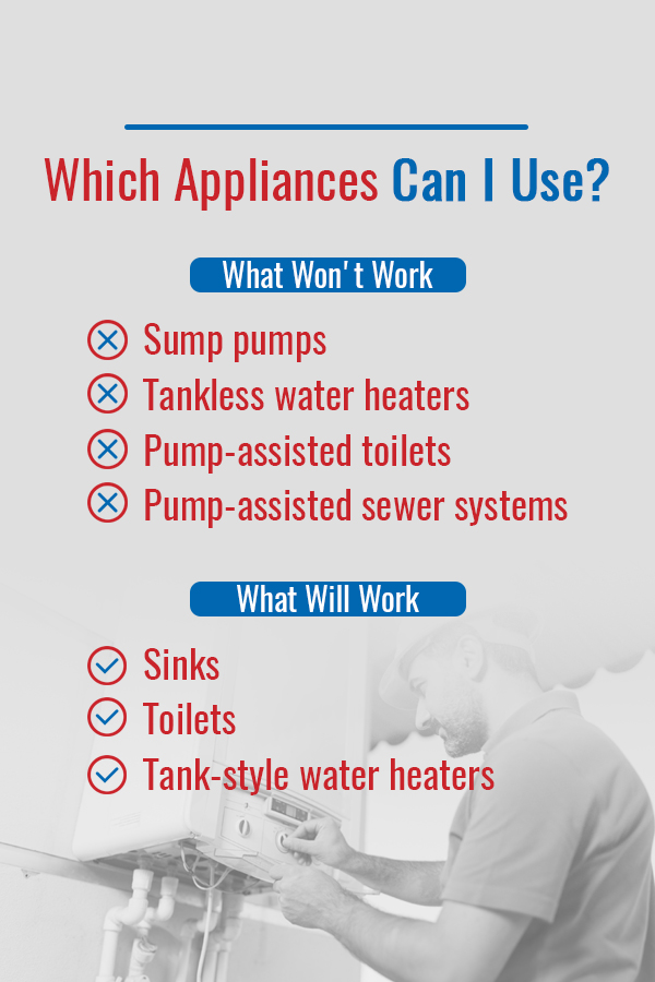 List of appliances that won't work and will work when the power goes out