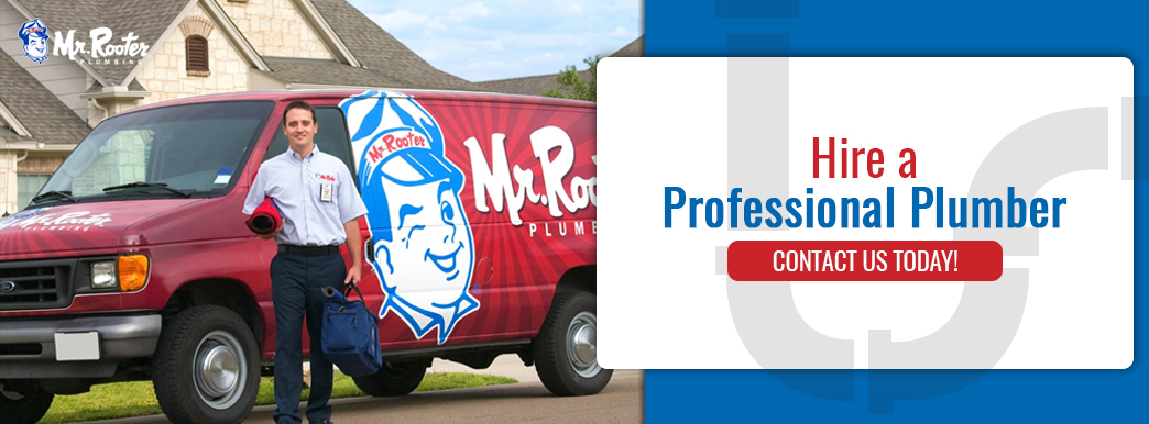 Mr. Rooter plumber with service van