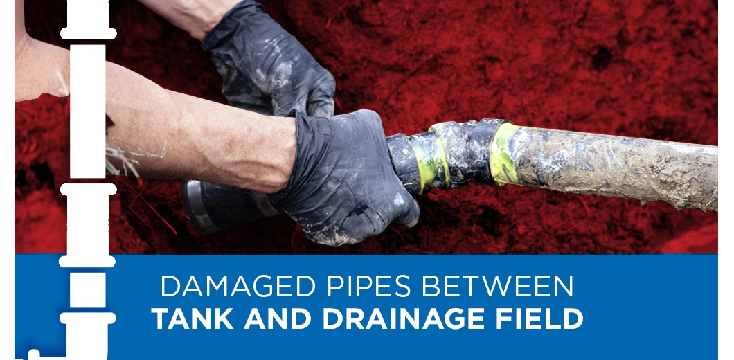 Septic system with text: Damaged pipes between tank and drainage field
