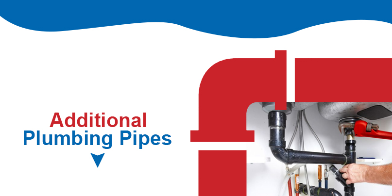 Plumber working on kitchen sink plumbing with text: additional plumbing pipes