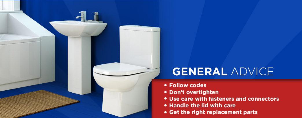 Sink and toilet with general toilet advice