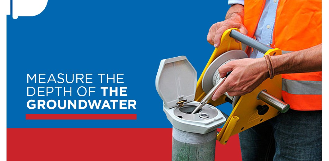 Plumber with text: measure the depth of the groundwater