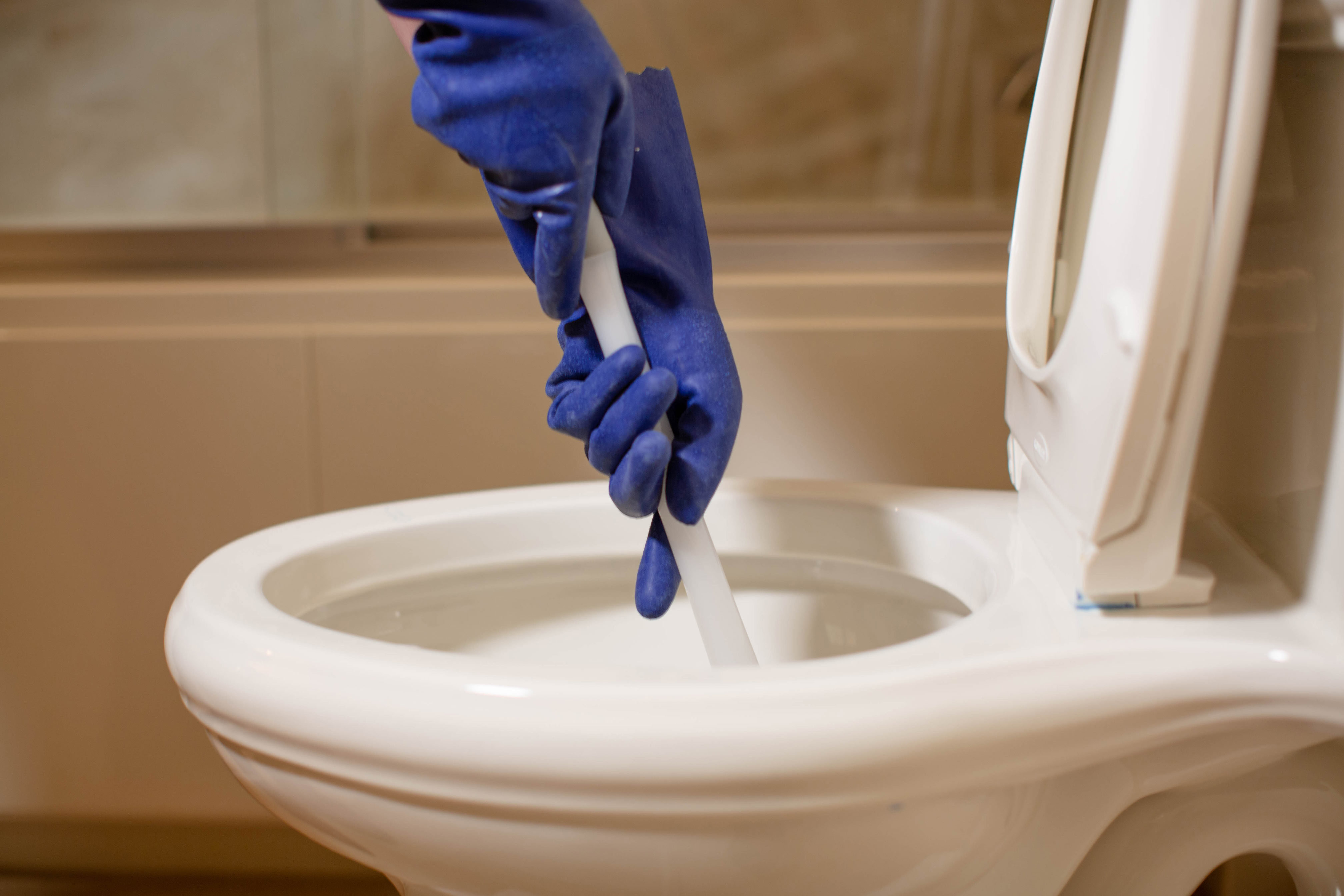 Person using a plunger in a toilet