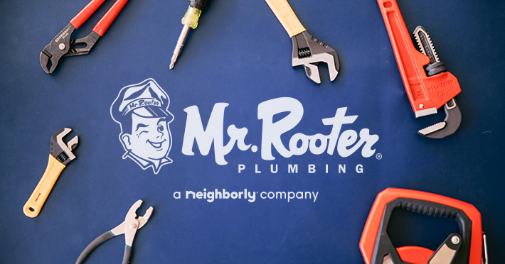 Mr. Rooter Plumbing a Neighborly Company banner with tools and a blue background