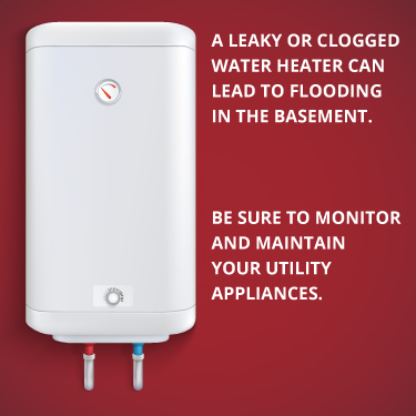 a leaky water heater can clog a basement