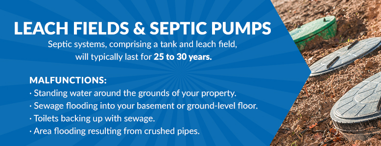 Leach fields and septic pumps lifespan information