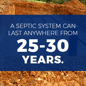 a septic system can last 25-30 years