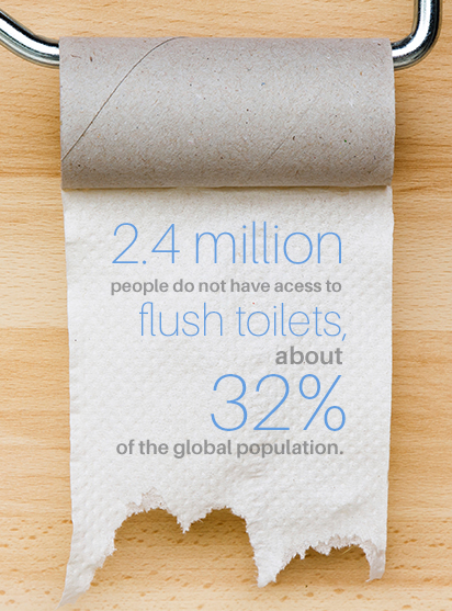 24 million people don't have flush toilets