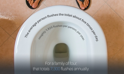 average toilet flushes per day