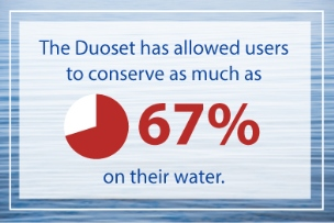 Duroset allows users to conserve 67% of water