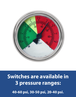 Pressure Switches are available in 3 pressure ranges