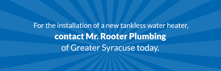 Blue banner with text about contacting Mr. Rooter Plumbing of Greater Syracuse