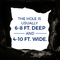 hole is usually 6-8 feet deep