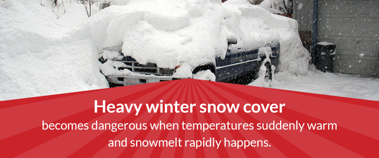 Heavy winter snow cover becomes dangerous when temps suddenly warm.