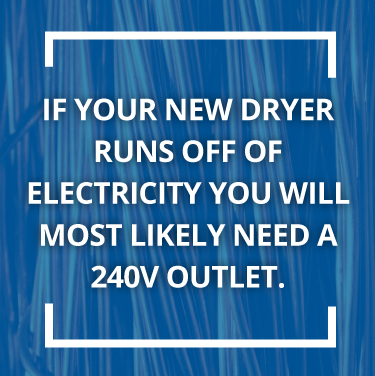 If you have an electric dryer, you will need a 240V outlet