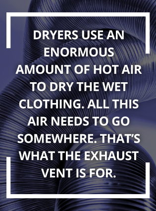Dryers use enormous amounts of hot air to dry clothing.