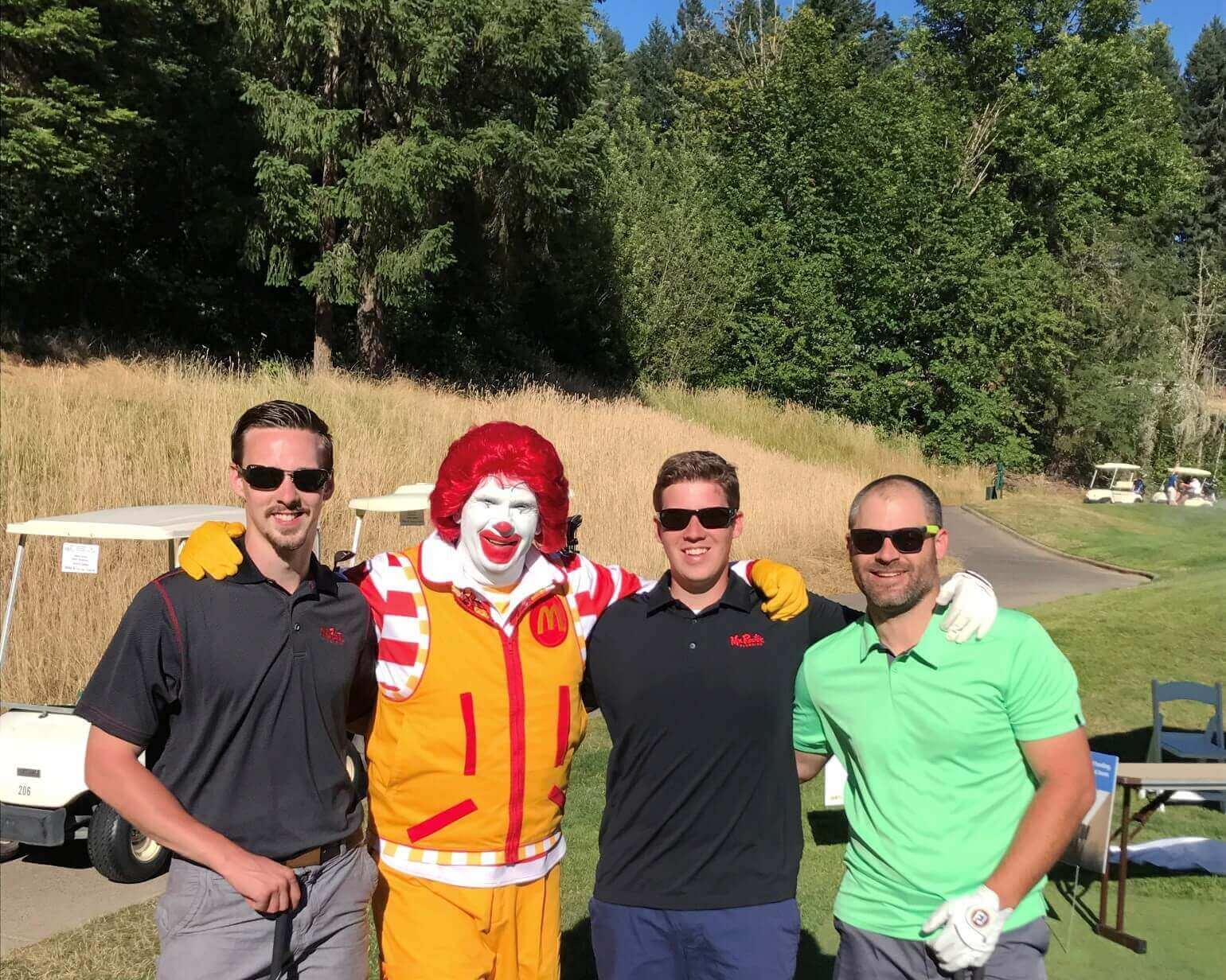 Mr. Rooter Plumbing employees with Ronald McDonald