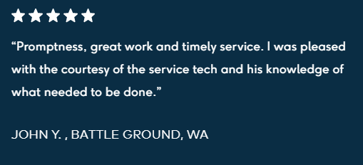 """Promptness, great work and timely service. I was pleased with the courtesy of the service tech and his knowledge of what needed to be done."" - 5 star review"