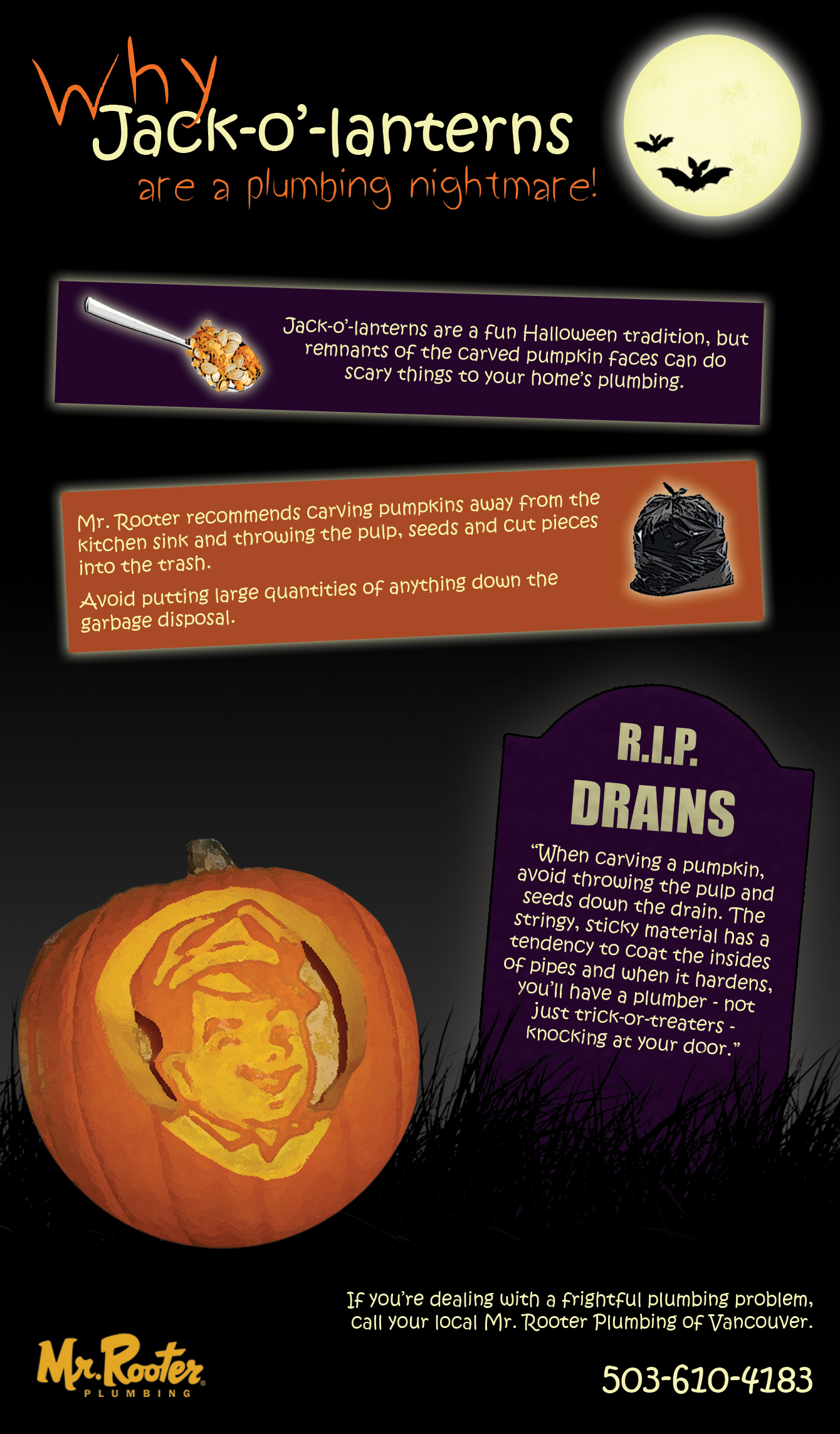 Mr. Rooter Plumbing infographic about why Jack-o'-lanterns are a plumbing nightmare